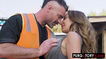 Stunningly gorgeous brunette MILF with huge tits fucks the tow truck driver