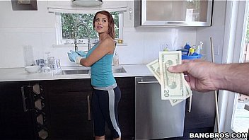 Maid cleans naked for extra money