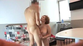 Lucky dude cums all over Merce's big boobs