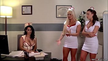 Huge tits brunette head nurse Isis Love in latex uniform punishes two hot nurse lesbians Holly Heart and Britney Amber and anal toys and fucks them