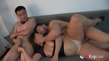 Montse sucks her husband's and her son's friend dicks and has a threesome with 'em