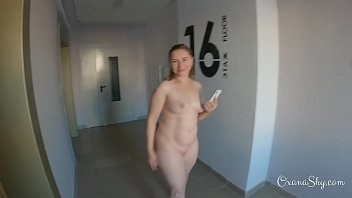 Nude facialized MILF in her porch
