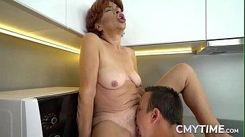 Redhead granny boned