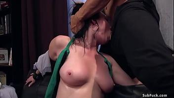 Tattooed baldheaded boyfriend Derrick Pierce ties busty brunette girlfriend Veruca James and fucks her deep throat and asshole with big dick