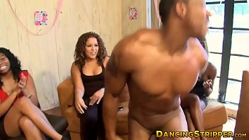 Pretty babe fucked at stripper party