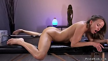 Trimmed pussy brunette slut takes fucking machine and Sybian into her pussy