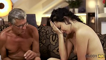 DADDY4K. Bad girl starts caressing herself sitting near old male