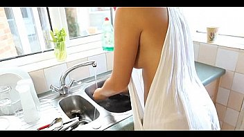 Latinas Boob Spills Out While She's Cleaning