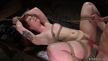Barbary Rose with clamped nipples in eagle spread bondage getas whipped then laid on back gets hairy pussy banged as slave training