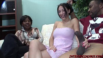 Teen minx dishonors daddy by interracial