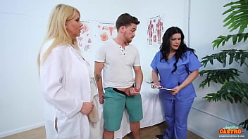 Caring Is Sharing! Health Care Hotties Angelina Castro & Karen Fisher treat a patient's erection to some wet cunt until he cums on those big tits! Full Video & Angelina Live @ AngelinaCastroLive.com!