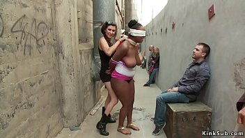 Huge natural tits ebony slave Layton Benton blindfolded dragged in Chinatown by mistress Princess Donna Dolore then fucked by Karlo Karrera for public