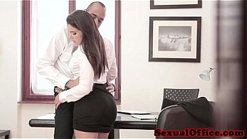 Beautiful office worker cant keep legs closed