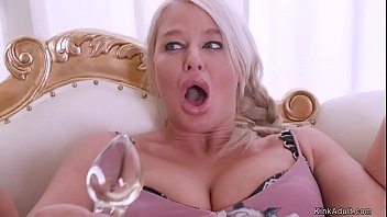 Brunette Milf with hot ass plugs asshole to huge tits blonde lesbian then rides her face in sixtynine position in bed