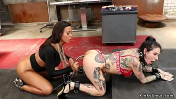Busty ebony lesbian mistress rims and toys alt brunette slave then anal fucks her with strap on dick