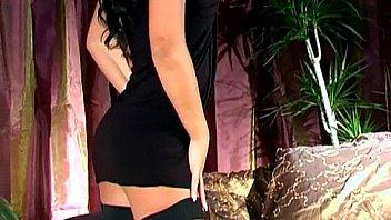 Brunette teasing in a teddy panties and stockings