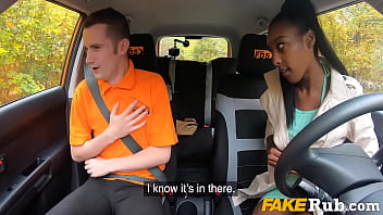 Driving Student Gets Her Ebony Pussy Fucked