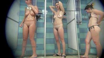 Hidden cameras record beautiful teen girls and fat mature women in public shower rooms