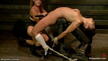 Big tits mistress Felony spanks busty Asian slave Milcah Halili bent over cage then vibrates her in back arch position till rough anal fucks her and squirts all over her from above
