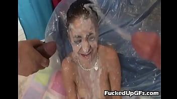 Brunette Teenager gets Covered in Cum