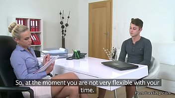 Curvy tiny tit boss fucks interviewee