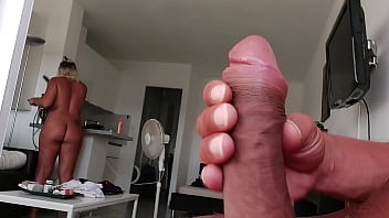this pervert has such a big cock. his step sister is horny when she sees her jerking off