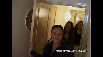British brunette babes in college uniforms screwed by two guys