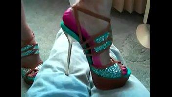 trampling in her high heel shoes & boots