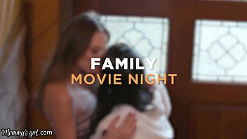 Step-Family 3-Way Movie Night With Her Girlfriend