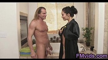 Cute Asa Akira stroking long cock under shower