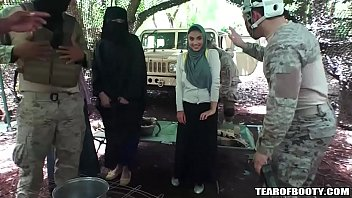 American soldiers gangbang the local slut girl and fucks her hard!