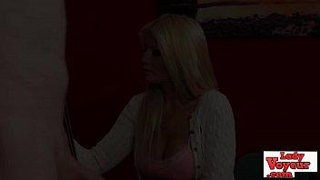 Bigtits CFNM girl instructing jerking guy