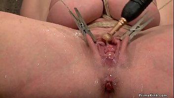 Huge tits gagged blonde Milf slave Dee Williams gets bound from hogtie to other bondage positions and made squirt with vibrator in hands of James Mogul