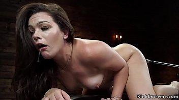 Naked sensitive solo brunette hottie Kimber Woods sitting in chair and masturbating with Magic Wand then gagged fucks machine before rides Sybian