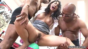Asian brunette got fucked by the fellas real hard