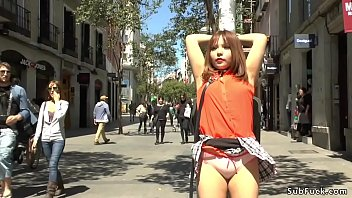 Mitsuki Sweet is ready to serve master Steve Holmes at the public of Madrid then in a bar sucks his huge dick