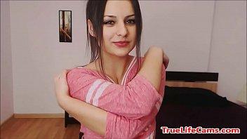 Kinky teenager brunette  babe stripping slowly