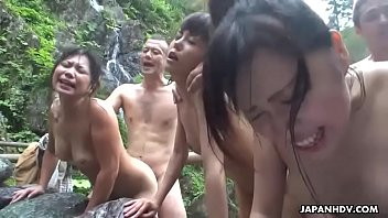 Hot spring action with three sexually charged bimbos