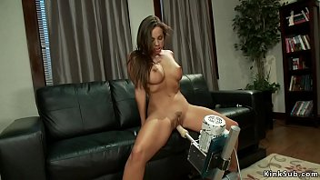 Toned big tits brunette hottie Abigail Mac playing with herself and getting ready for big dick fucking machine then showing who is the boss