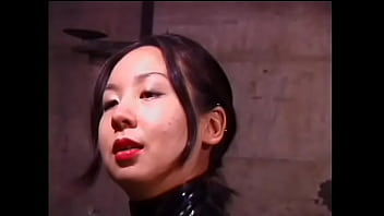 Hot Asian slut in leather suit ties up white guy and pounds him ass