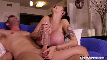 Joslyn James wonders why her step son is using a fleshlight stroker toy so she decides to teach him a lesson by edging his cock with it.