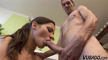 Skinny Old Fart Fucks Sexy Young Brunette