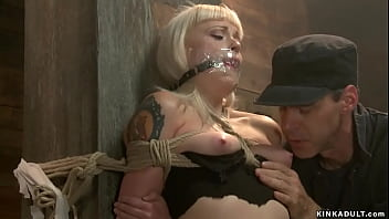 Shipping clerk James Mogul ties blonde slut Elyssa Greene in extreme rope bondage and hard whips her then vibrates her shaved pussy on hogtie