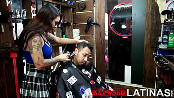Tattooed girl with a big ass gives special service to her clients, they are licked and fucked while cutting their hair in Spanish