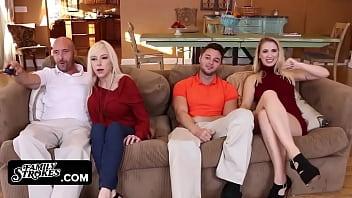 Family Strokes - Horny Girlfriend (SierraNicole) Seduces & Fuck Boyfriends Dad