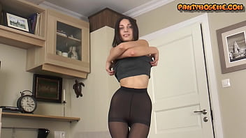 Watch Skinny Black Hair Girl In Skirt and_High Heels Shows Vagina In_Nylons preview