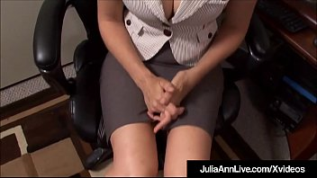 Big Breasted Beauty Julia Ann sits at her office desk, dreaming of sucking a big cock & it happens for real, as she drowns her horny co worker's huge dick inside her saliva drenched mouth, taking a healthy dose of sperm on her face!