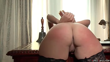 After party hot big tits brunette employee Ashli Ames is bound by her elder boss Mark Davis and spanked and caned then fucked till gets cumshot