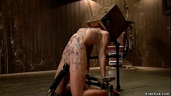Master Orlando anal toys hot petite brunette Asian slave Milcah Halili in device bondage then in extreme position waxes her while her head is in box