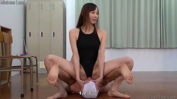 Mistress Risa in a swimsuit face sitting and foot worship